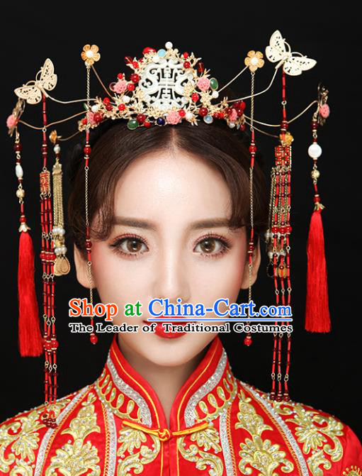 Chinese Traditional Bride Hair Accessories Xiuhe Suit Step Shake Wedding Hairpins Butterfly Phoenix Coronet for Women