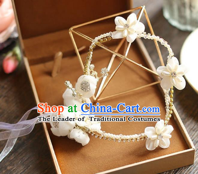 Chinese Traditional Bride Hair Accessories Baroque Wedding Pearls Flowers Hair Clasp for Women