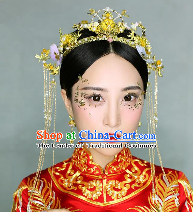 Chinese Traditional Bride Hair Accessories Xiuhe Suit Phoenix Coronet Wedding Flowers Hairpins Complete Set for Women