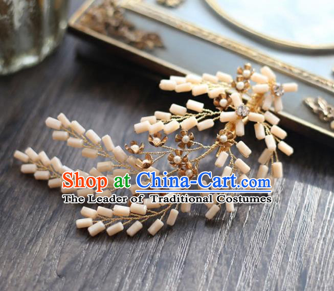 Chinese Traditional Bride Hair Accessories Baroque Wedding Beads Hair Stick for Women