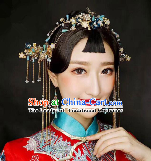 Chinese Traditional Bride Hair Accessories Xiuhe Suit Blue Flowers Phoenix Coronet Wedding Tassel Hairpins Complete Set for Women