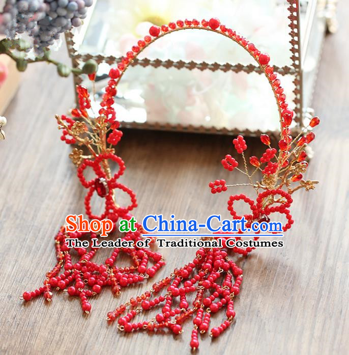 Chinese Traditional Bride Hair Accessories Baroque Wedding Red Beads Tassel Hair Clasp for Women