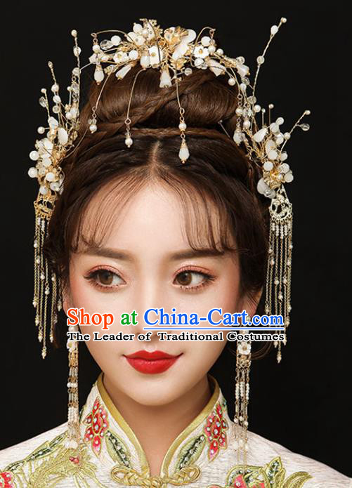 Chinese Traditional Bride Hair Accessories Xiuhe Suit Golden Hair Comb Wedding Tassel Hairpins Complete Set for Women
