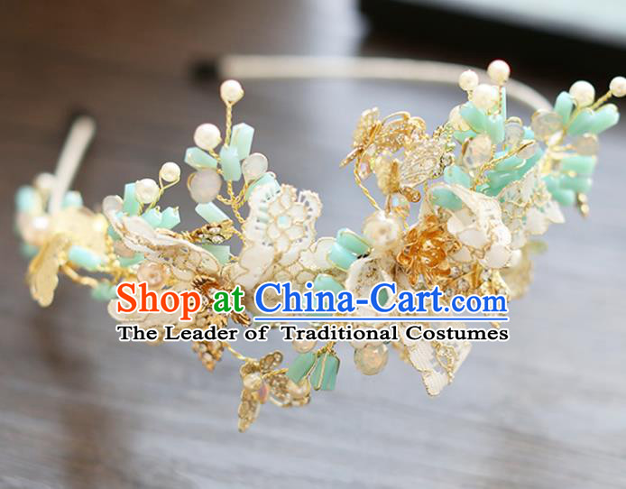 Chinese Traditional Bride Hair Accessories Baroque Wedding Green Beads Hair Clasp for Women
