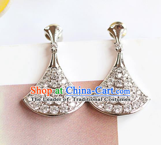 Chinese Traditional Bride Jewelry Accessories Crystal Fan Earrings Wedding Eardrop for Women