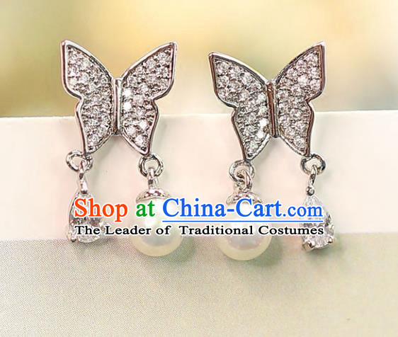 Chinese Traditional Bride Jewelry Accessories Crystal Butterfly Earrings Wedding Eardrop for Women
