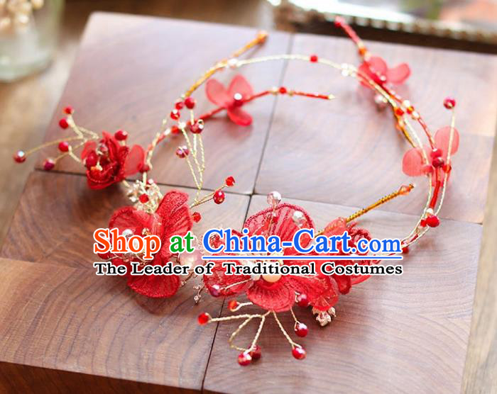 Chinese Traditional Bride Hair Accessories Baroque Princess Wedding Red Flowers Hair Clasp for Women