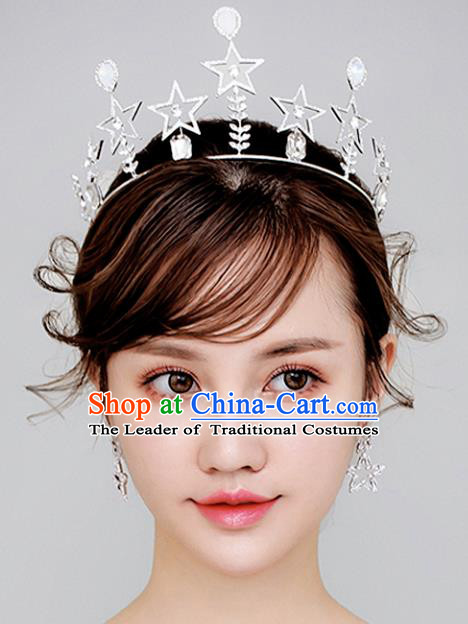 Chinese Traditional Wedding Hair Accessories Baroque Hair Clasp Bride Opal Star Pearls Royal Crown for Women