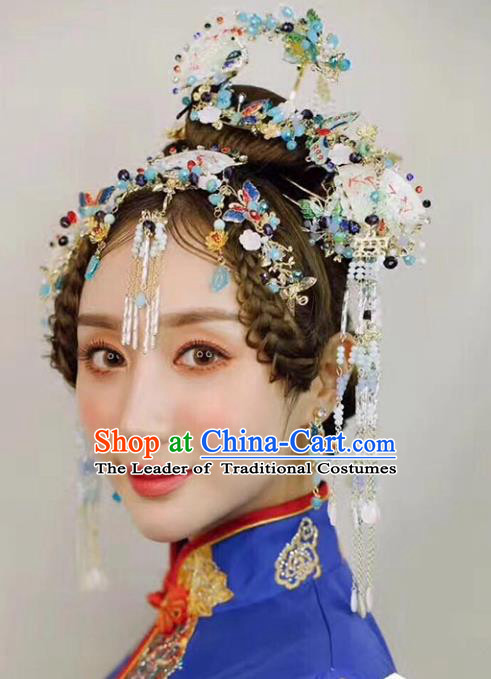 Chinese Traditional Bride Hair Accessories Xiuhe Suit Blueing Butterfly Tassel Phoenix Coronet Wedding Hairpins for Women