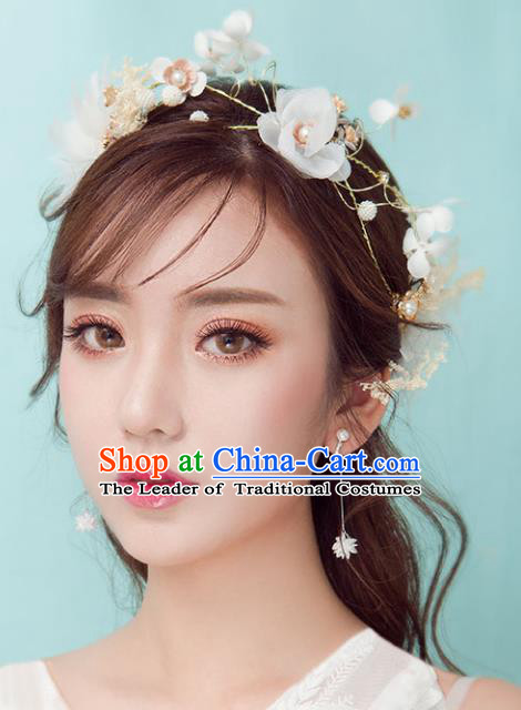 Chinese Traditional Bride Hair Accessories Baroque Princess Wedding White Flowers Hair Clasp for Women