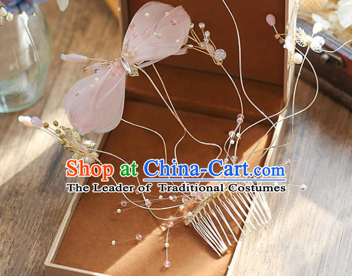 Chinese Traditional Bride Hair Accessories Baroque Princess Wedding Pink Feather Bowknot Hair Comb for Women