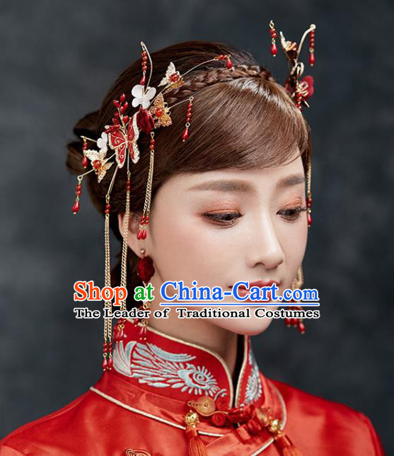 Chinese Traditional Bride Hair Accessories Xiuhe Suit Wedding Red Phoenix Coronet Tassel Hairpins Complete Set for Women