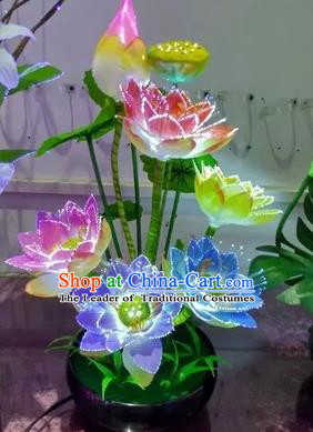 Chinese Traditional Electric LED Lotus Lantern Desk Lamp Home Decoration Lights