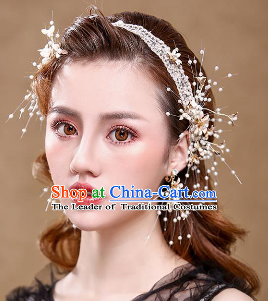 Chinese Traditional Bride Hair Accessories Baroque Princess Wedding Lace Headband Hair Clasp for Women