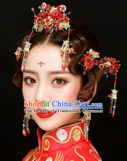 Chinese Traditional Bride Hair Accessories Xiuhe Suit Wedding Red Hair Comb Tassel Hairpins Complete Set for Women