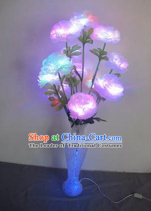 Chinese Traditional Electric LED Peony Flowers Lantern Desk Lamp Home Decoration Lights