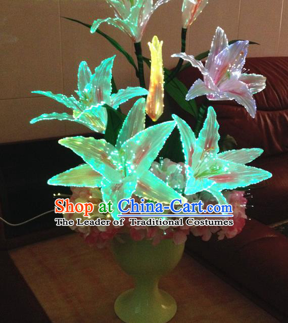 Chinese Traditional Electric LED Greenish Lily Flowers Lantern Desk Lamp Home Decoration Lights Loudspeaker Box