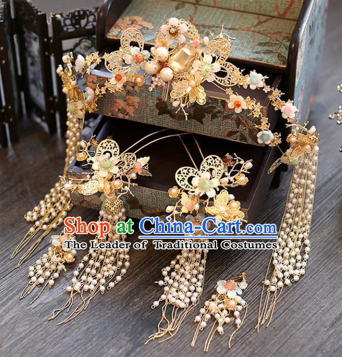 Chinese Traditional Bride Hair Accessories Xiuhe Suit Wedding Phoenix Coronet Tassel Butterfly Hairpins Complete Set for Women