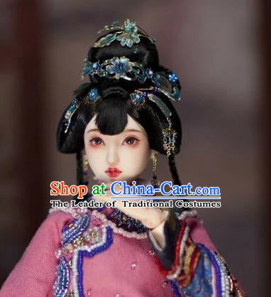Chinese Traditional Silk Figurine Doll Hair Accessories Flowers Hairpins Ancient Princess Headwear