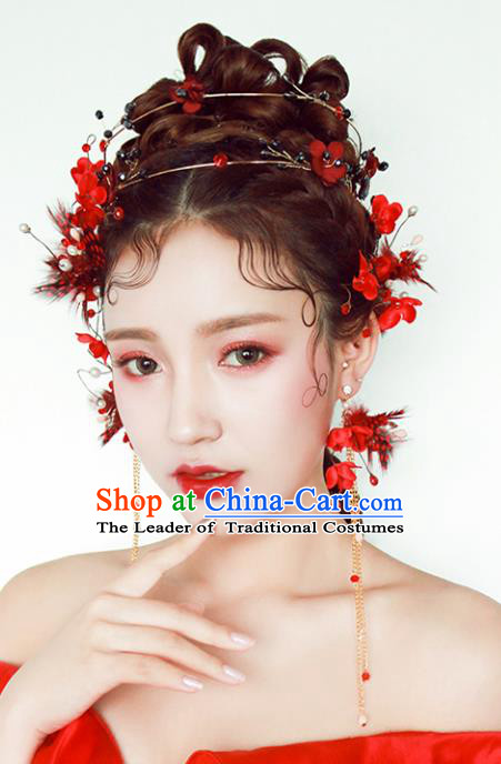 Chinese Traditional Bride Hair Accessories Baroque Princess Wedding Red Feather Hair Clasp and Earrings for Women