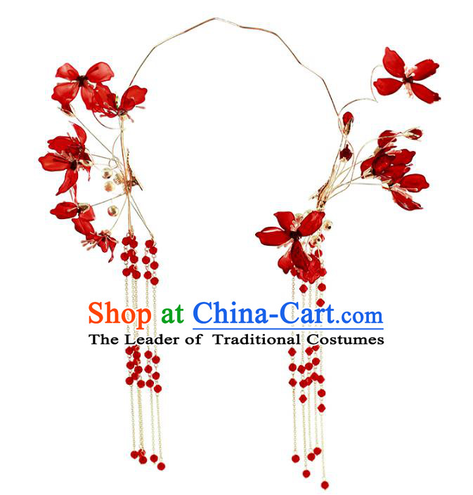 Chinese Traditional Bride Hair Accessories Baroque Princess Wedding Red Hair Clasp for Women