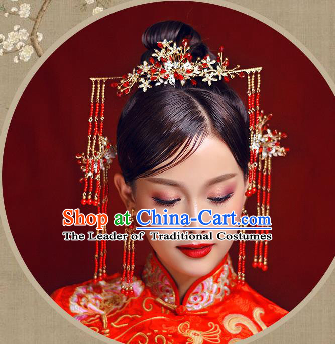 Chinese Traditional Bride Hair Accessories Xiuhe Suit Red Beads Tassel Step Shake Wedding Hairpins for Women