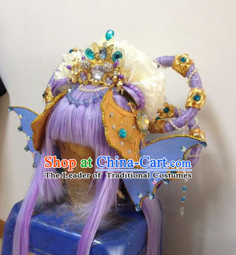 Chinese Traditional Ancient Fairy Princess Hair Accessories Handmade Tassel Hairpins and Wig Complete Set for Women