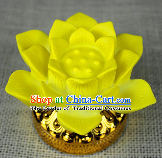 Chinese Traditional Electric LED Yellow Lotus Lantern Desk Lamp Flowers Lights