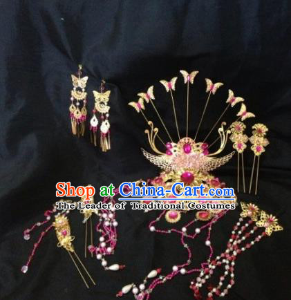 Chinese Traditional Ancient Hair Accessories Hairpins Handmade Tassel Phoenix Coronet Step Shake for Women
