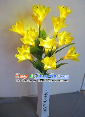 Chinese Traditional Electric LED Lantern Desk Lamp Home Decoration Yellow Greenish Lily Flowers Lights