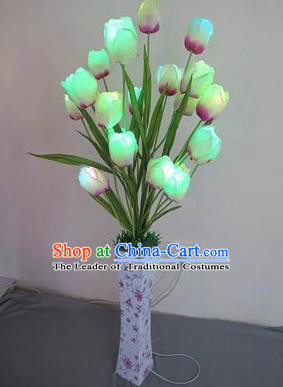 Chinese Traditional Electric LED Lantern Desk Lamp Home Decoration Tulipa Flowers Lights