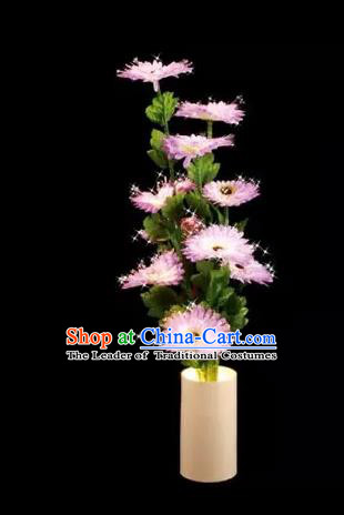 Chinese Traditional Electric LED Lantern Desk Lamp Home Decoration Pink Daisy Flowers Lights