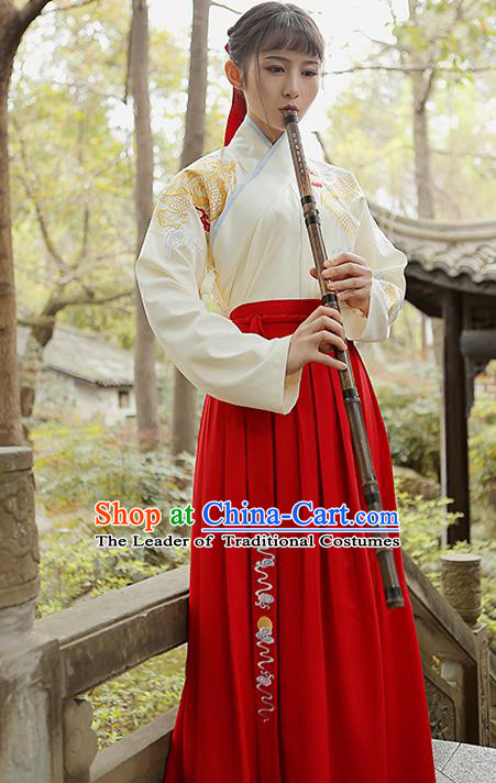 Traditional Chinese Ancient Swordswoman Hanfu Clothing, China Han Dynasty Young Lady Embroidered Costume for Women