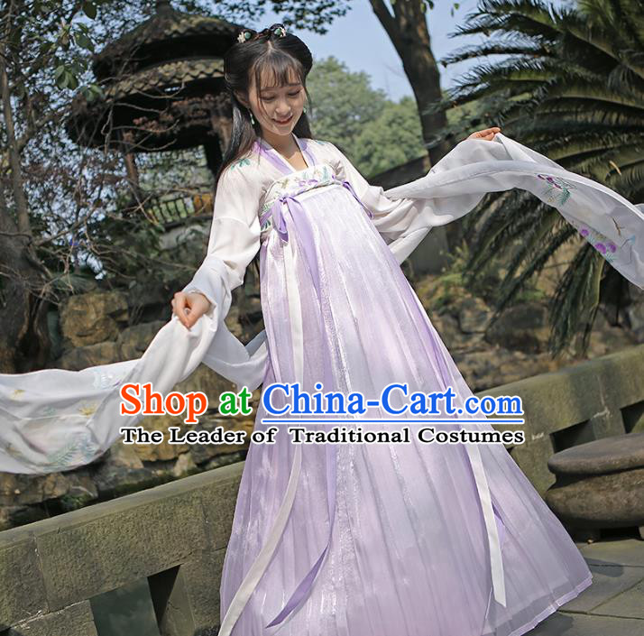 Traditional Chinese Tang Dynasty Imperial Princess Hanfu Embroidered Costume for Women