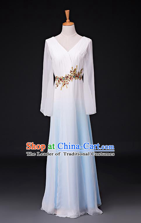 Traditional Chinese Modern Dance Costume Opening Chorus Singing Group Blue Bubble Dress for Women