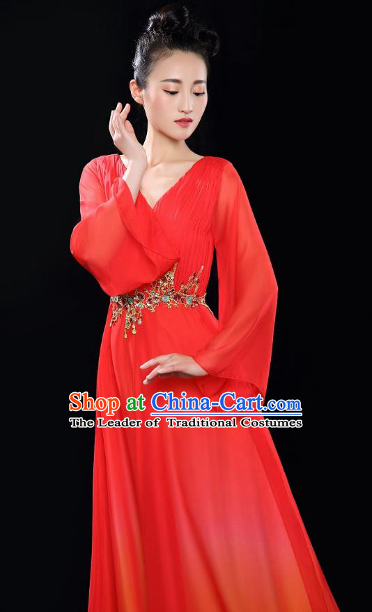Traditional Chinese Modern Dance Costume Opening Chorus Singing Group Red Bubble Dress for Women
