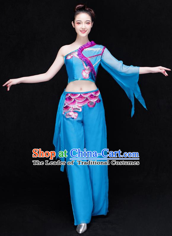 Traditional Chinese Classical Dance Fan Dance Costume, China Yangko Dance Blue Single Sleeve Clothing for Women