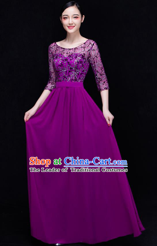 Traditional Chinese Modern Dance Costume Opening Dance Chorus Singing Group Purple Bubble Dress for Women