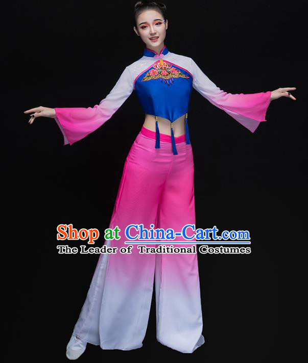 Traditional Chinese Classical Yangge Dance Embroidered Pink Costume, China Yangko Dance Dress Clothing for Women
