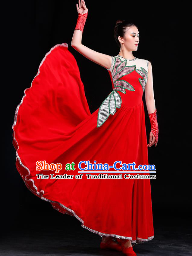 Traditional Chinese Modern Dance Costume, Opening Dance Chorus Singing Group Red Dress for Women