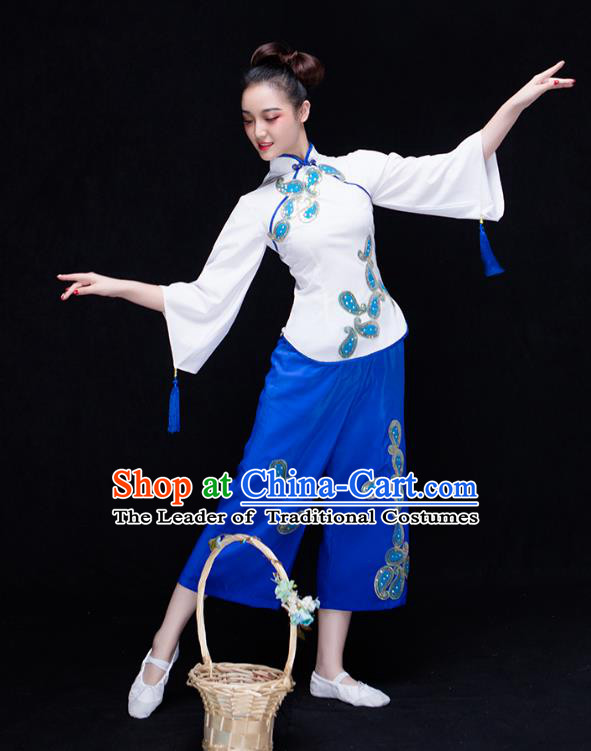 Traditional Chinese Classical Yangge Dance Uniforms Embroidered Costume, China Yangko Dance Dress Clothing for Women