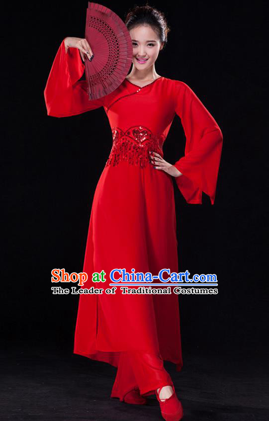 Traditional Chinese Classical Dance Costume, China Yangko Dance Fan Dance Hanfu Red Clothing for Women