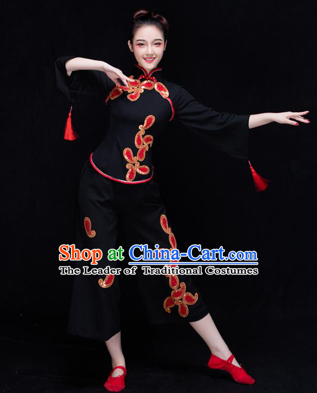 Traditional Chinese Classical Yangge Dance Black Uniforms Embroidered Costume, China Yangko Dance Dress Clothing for Women