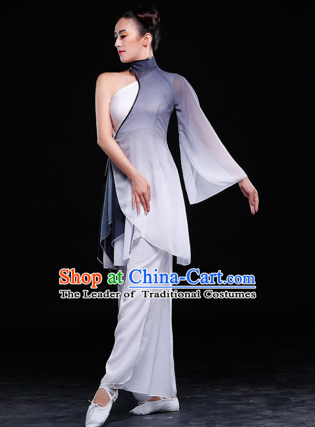 Traditional Chinese Classical Yangge Dance White Uniforms, China Yangko Dance Clothing for Women