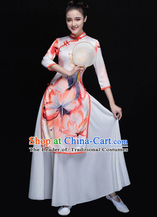 Traditional Chinese Classical Yangge Dance Cheongsam, China Yangko Fan Dance Dress Clothing for Women