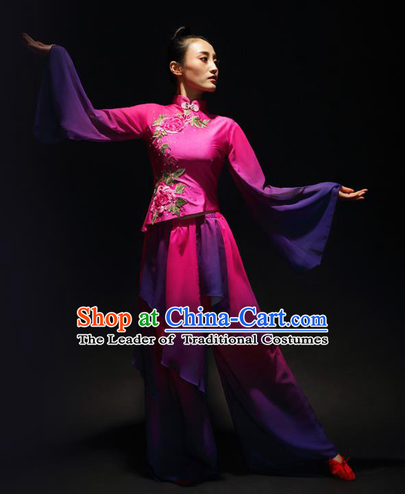 Traditional Chinese Classical Yangge Umbrella Dance Costume, China Yangko Fan Dance Rosy Clothing for Women