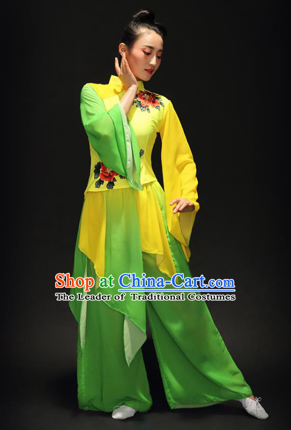 Traditional Chinese Classical Yangge Umbrella Dance Costume, China Yangko Fan Dance Yellow Clothing for Women