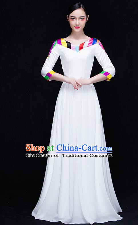 Traditional Chinese Modern Dance Costume, Opening Dance Chorus Singing Group White Dress for Women