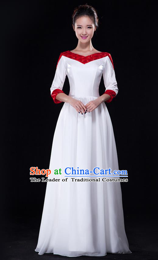 Traditional Chinese Modern Dance Costume, Opening Dance Chorus Singing Group Dress Clothing for Women
