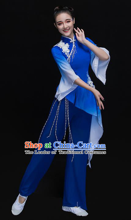 Traditional Chinese Classical Umbrella Dance Costume, China Folk Dance Yangko Blue Clothing for Women